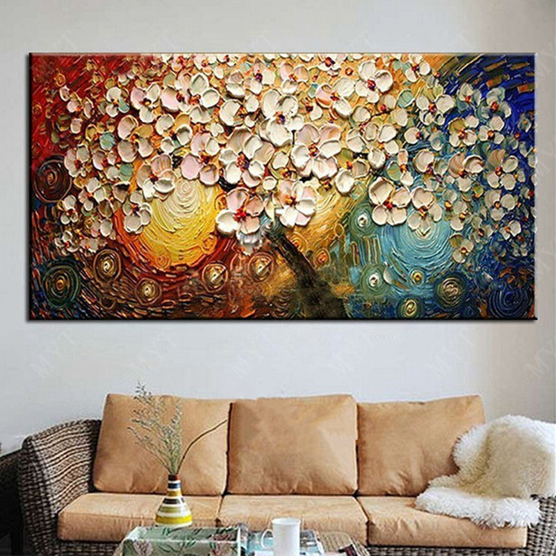 Modern Home Decor Art Knife White Bloom Floral Pictures Gifts Large Painting Handpainted Abstract Flower Oil