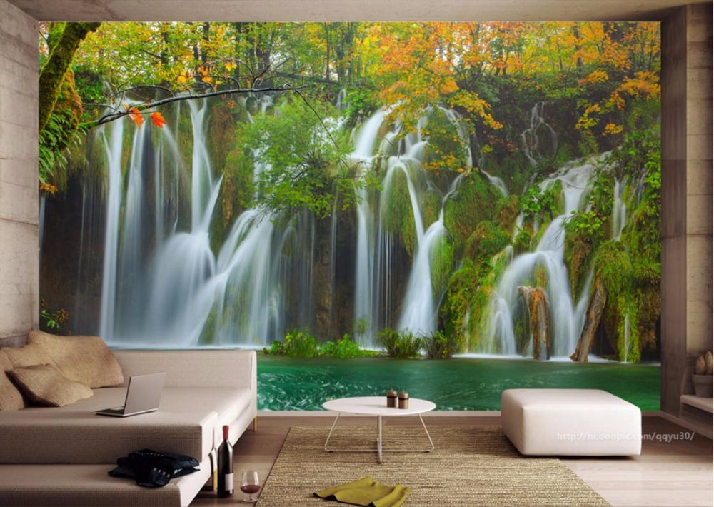 Customize 3D Wall paper For Living Room Waterfall Scenery TV 3D Wallpaper Landscape 3D Wallpaper Murals blue earth cosmic sky zenith living room ceiling murals 3d wallpaper the living room bedroom study paper 3d wallpaper