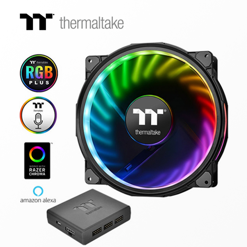 Thermaltake Riing Plus 20 LED RGB Chassis Fan  (20cm Fan * 1 / 16.8 Million Colors / Shockproof Installation / LED Light Guide)