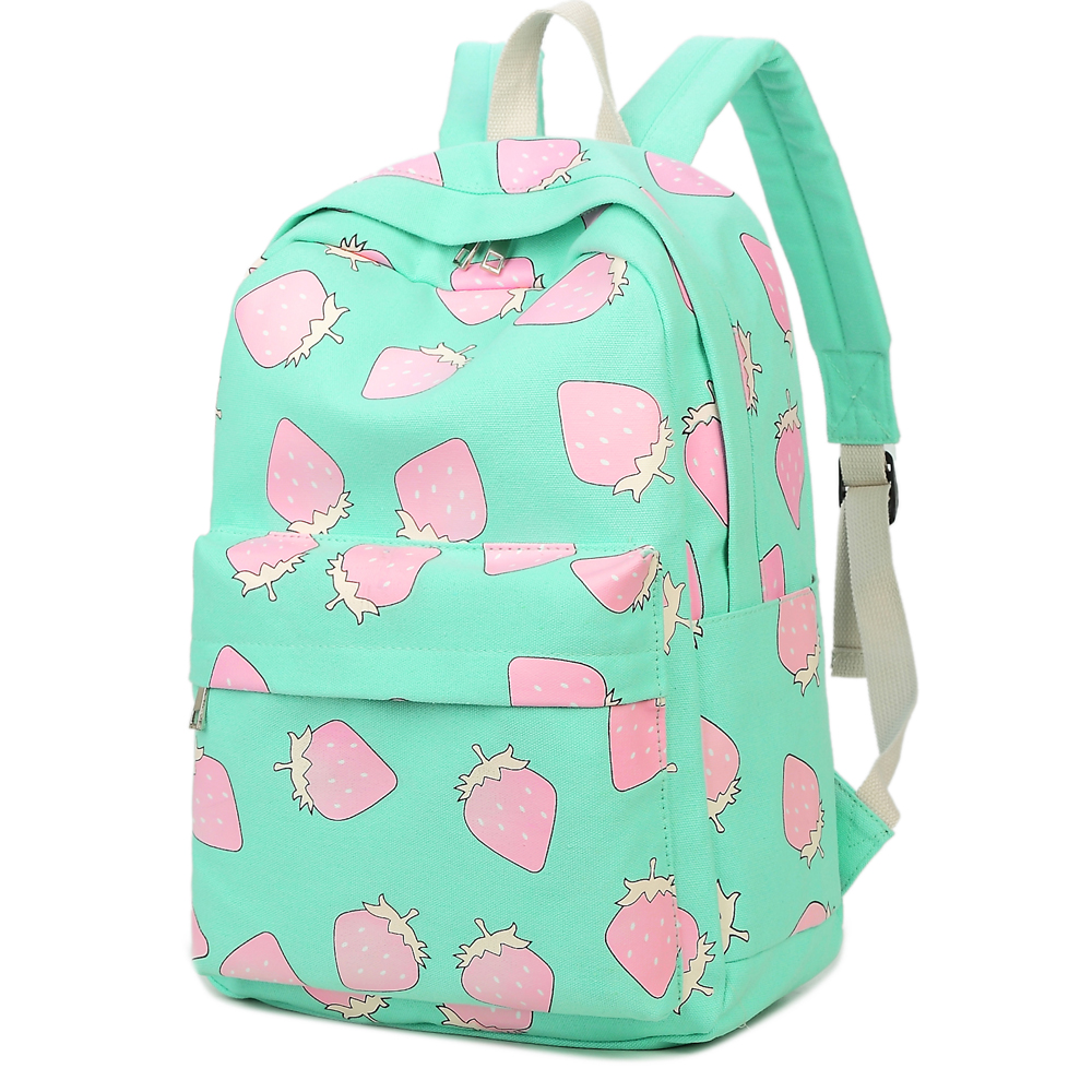College Girl Canvas Backpack Fruit Printing Women School Backpacks Schoolbag for Teenagers Student Book Bag Preppy Style Plecak  free shipping korean version candy colors fairy tail logo printing man woman canvas schoolbag red green black blue backpacks