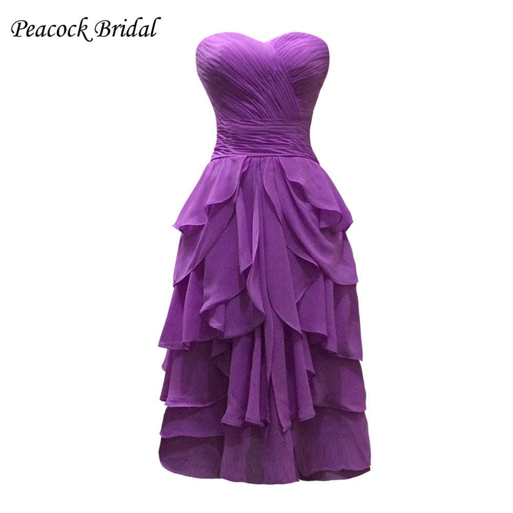 Peacock sweetheart pleated chiffon short purple bridesmaid dresses peacock sweetheart pleated chiffon short purple bridesmaid dresses in bridesmaid dresses from weddings events on aliexpress alibaba group ombrellifo Choice Image