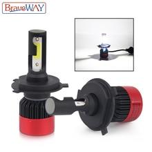 BraveWay H4 H7 H11 9005 9006 HB3 HB4 светодио дный лампы для авто Малый Размеры светодио дный лампы для автомобилей H4 светодио дный фар автомобиля светодио дный лампа H7 мини S2