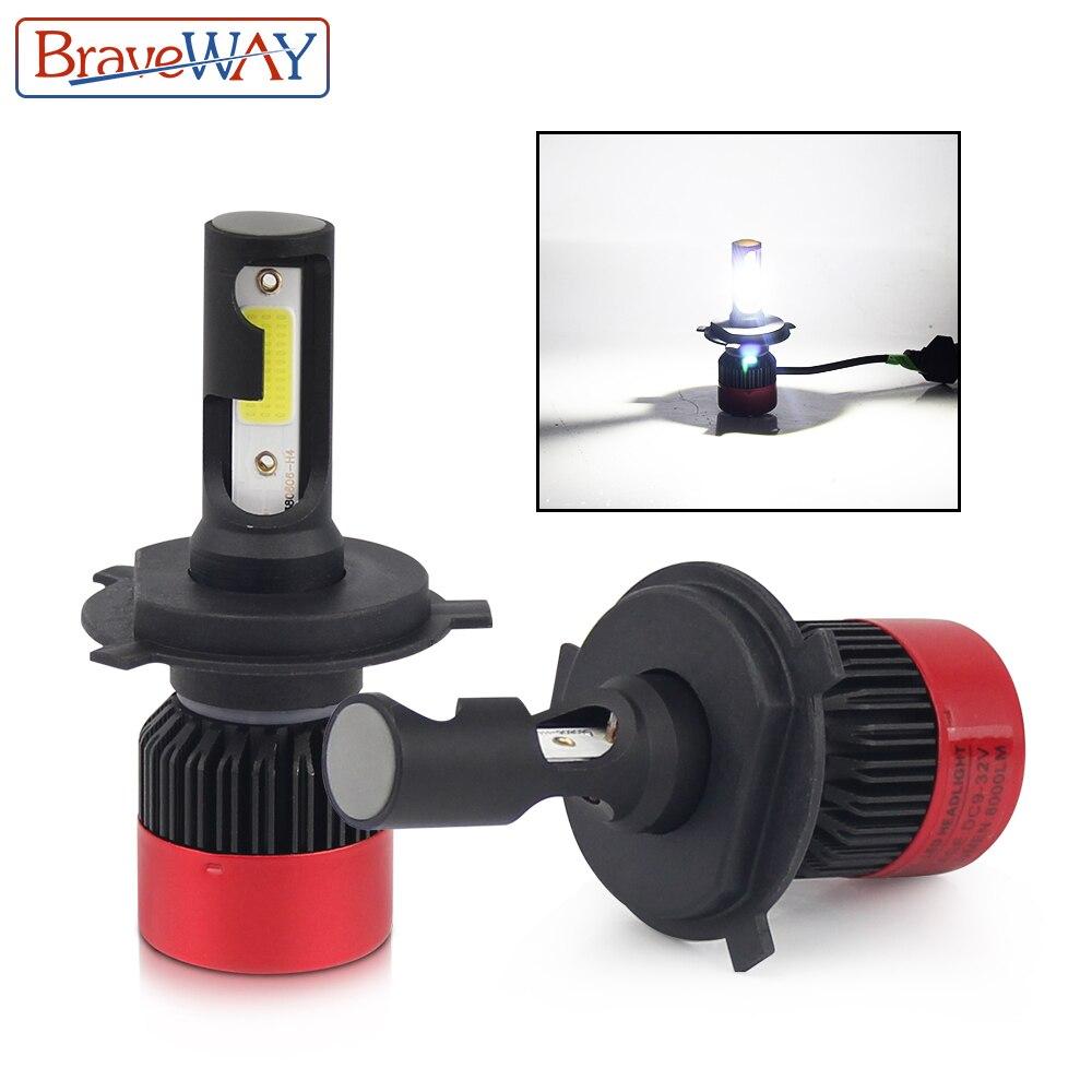 BraveWay H4 H7 H11 9005 9006 HB3 HB4 bombilla Led para Auto tamaño pequeño bombillas Led para autos H4 LED faro de coche Led lámpara H7 MINI S2