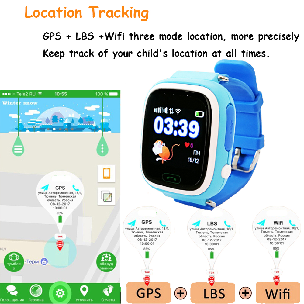 Q90 kids GPS watch Smart baby Watch for children watch smart child clock  with WIFI Location SOS Call Tracker Device PK Q528 Q100