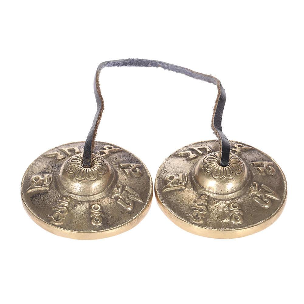 Ammoon 2.6in/6.5 centímetros Artesanais Tibetano Tingsha Sino de Prato com Budista Meditação Símbolos de Sorte