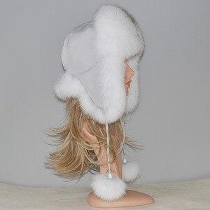 Image 3 - Женская шапка бомбер из натурального Лисьего меха, теплая шапка из натурального меха лисы хорошего качества, новинка зимы 2020