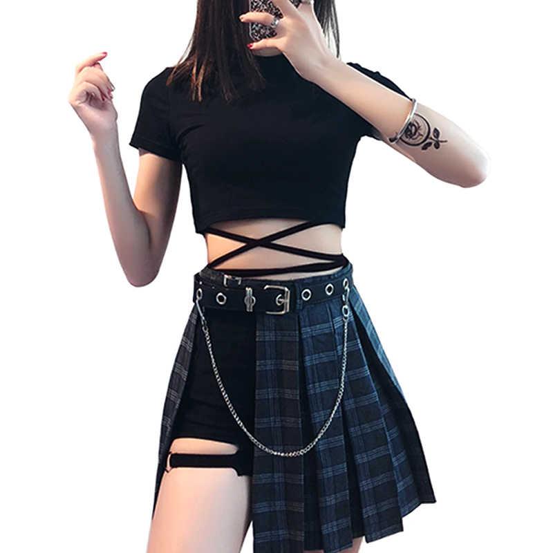 c2394b59a2 2019 Chains Belted Punk Hip-hop Plaid Skirt Women Irregular Sexy High Waist  Pleated Skirts