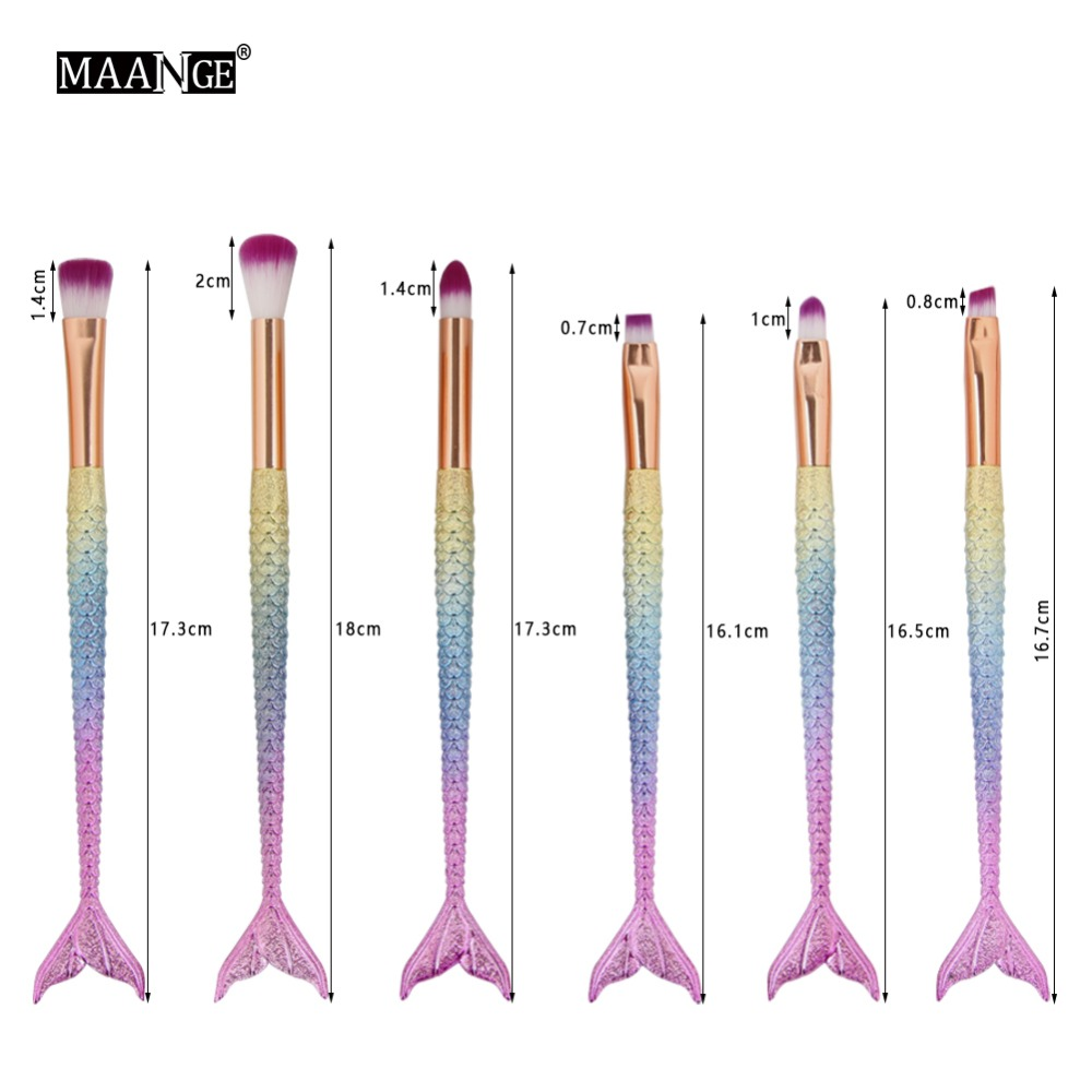 16 PCS Big Mermaid Makeup Brushes Set