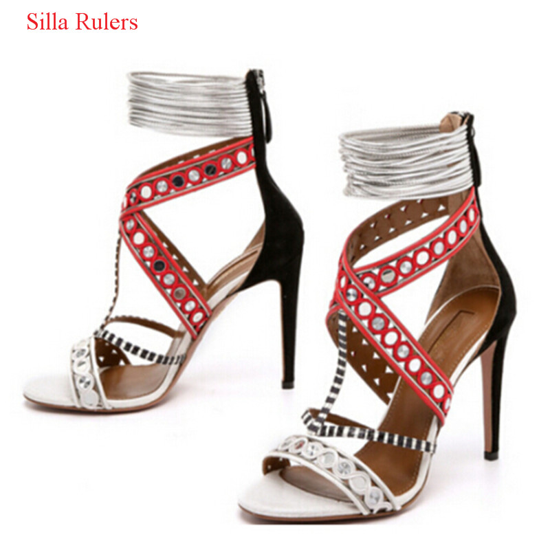 Red Blue Yellow Patchwork High Heels Women Sandals Mixed Color Cut Out Gladiator Sandals Women Boots Shoes Woman Sandalias Mujer