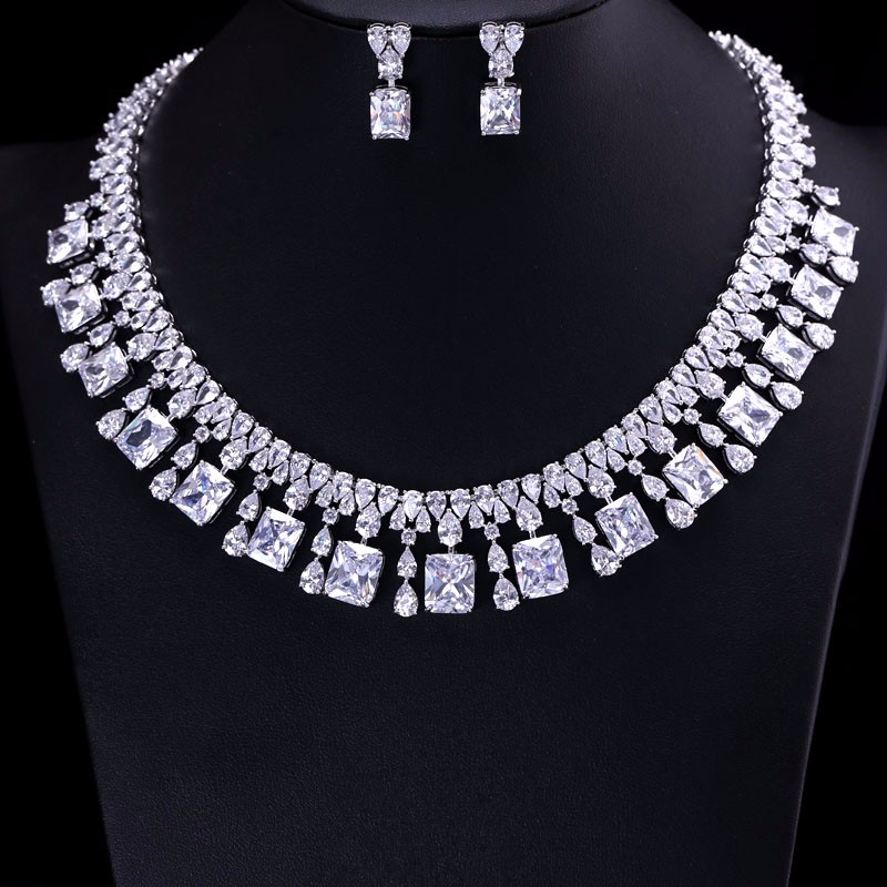 4 Color Select Luxury better Cubic Zircon Clear Necklace Earrings Set Heavy Dinner Jewelry Set Wedding Bridal Dress Accessories