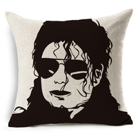 Michael Jackson Pattern Super Star Black And White Home Decor Cotton Linen Cushion Cover Sofa Throw