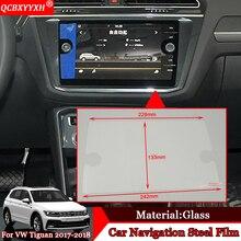 Qcbxyyxh стайлинга автомобилей GPS навигации Экран Сталь защитный Плёнки Управление из ЖК-дисплей Экран Наклейки для Volkswagen Tiguan 2017 2018