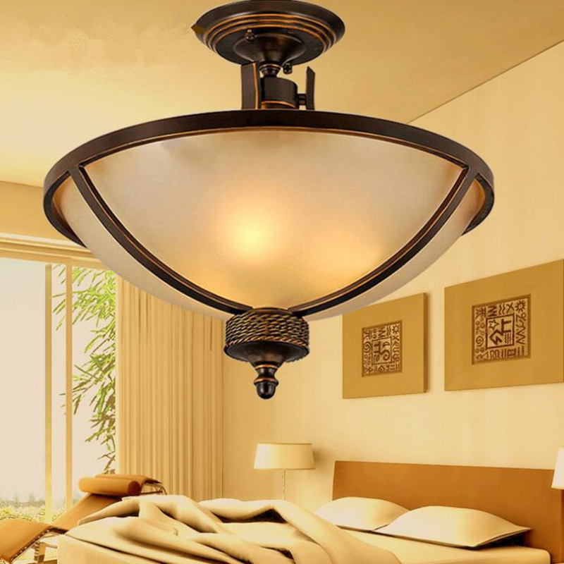 American Rural Retro Restaurant LED Glass Ceiling Lights Creative Personality Living Room Bedroom Balcony Home Decor Lightings
