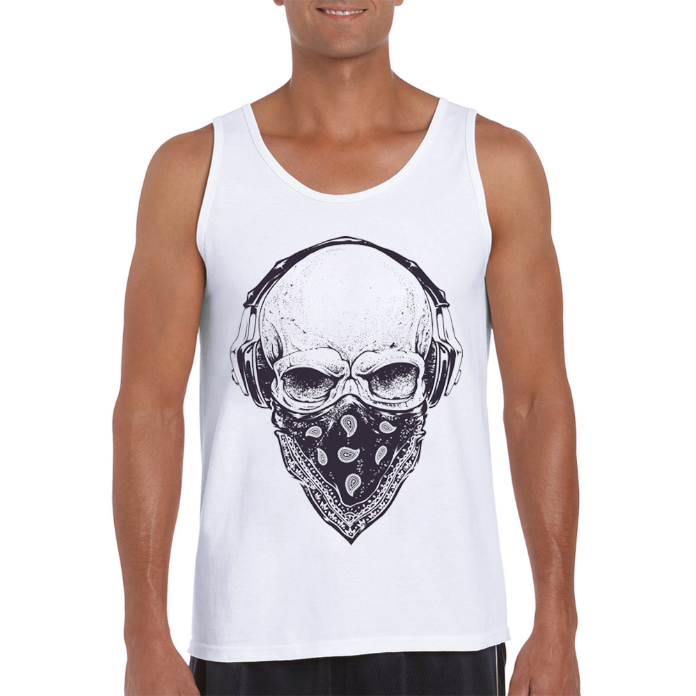 2019 Newest Fashion Skull with Headphones Printed Men Tank Tops Vintage Cool Male Tee O-Neck Casual Vest