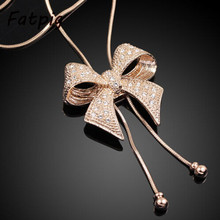1pcs Gold Filled Bowknot Rhinestone Chain Sweater Necklace Chain for Women Girl Lady Free Shipping