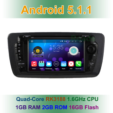 1024X600 Quad core Android 5.1 Car DVD Player for  Seat Ibiza 2009 2010 2011 2012 2013 Radio GPS Navigation Built-in WiFi BT