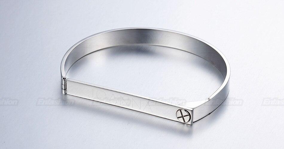 Enfashion Personalized Engraved Name Bracelet Gold Color Bar Screw Bangle Lovers Bracelets For Women Men Cuff Bracelets Bangles 18
