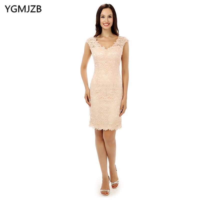 Grande taille rose 2018 mère de la mariée robes gaine col en V Cap manches genou longueur dentelle courte mère robe pour mariage