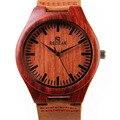 Mens Dial de Reloj de Madera de Bambú de Madera de Sándalo Bisel-caja de Regalo de Cuero Genuino