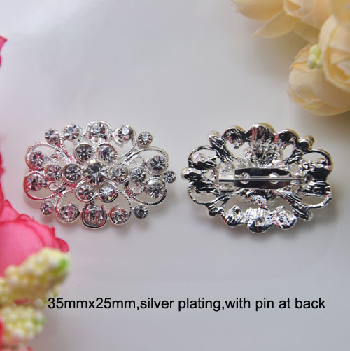 (S0705) 5pcs/lot, 35mmx25mm oval rhinestone brooch,with pin at back,silver plating,all crystals