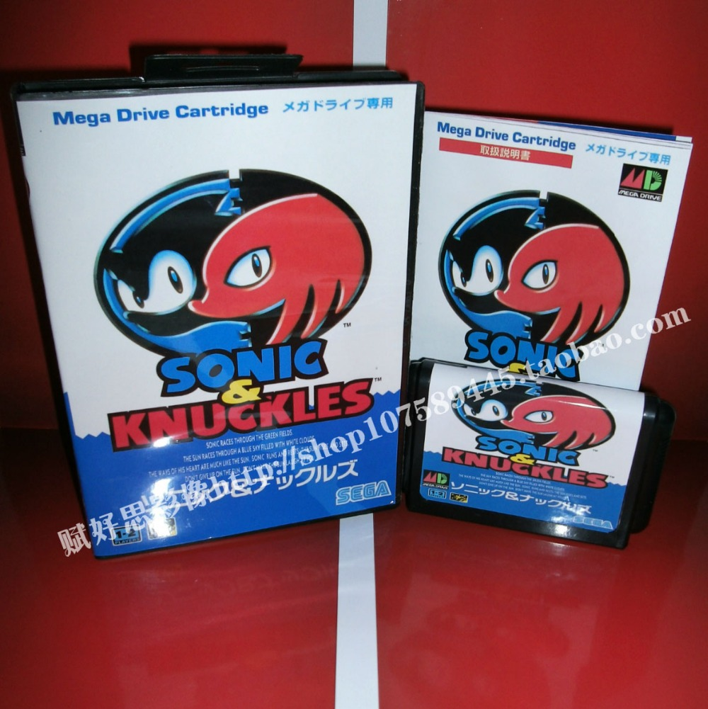 Sega MD game - Sonic & Knuckles with Box and Manual for 16 bit Sega MD game Cartridge Megadrive Genesis system image