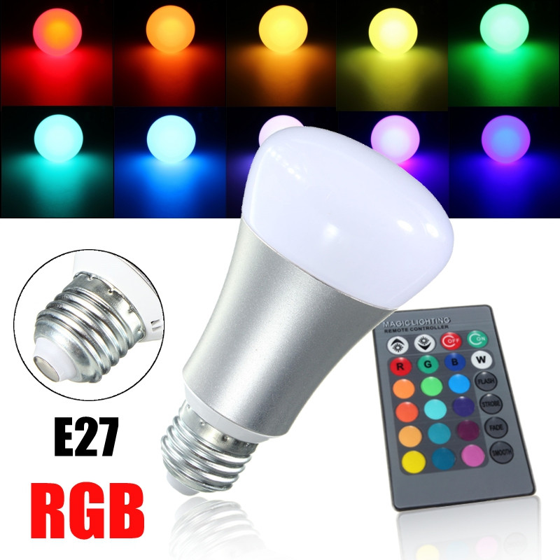 RGB LED Light Bulb E27 20W Color Changing Energy Saving Lighting LED Lamp Spotlight Bulb With 24 Keys Remote Control AC85-265V рюкзак deuter giga цвет сливовый темно серый 28л