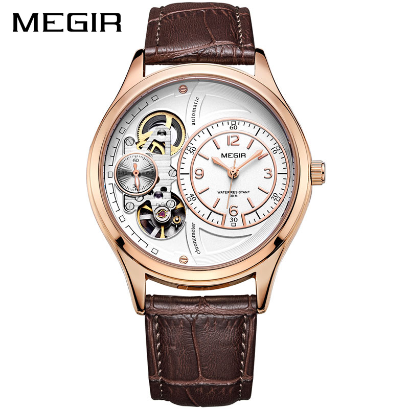 MEGIR Men Watch Top Brand Luxury Quartz Watches Relogio Masculino Leather Military Watch Clock Men Erkek Kol Saati ML2017 megir creative army military watches men luxury brand quartz sport wrist watch clock men relogio masculino erkek kol saati