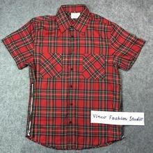 2016 hi street Fear of God FOG red tartan plaid with side zipper spring summer kanye west casual short sleeve cotton shirts