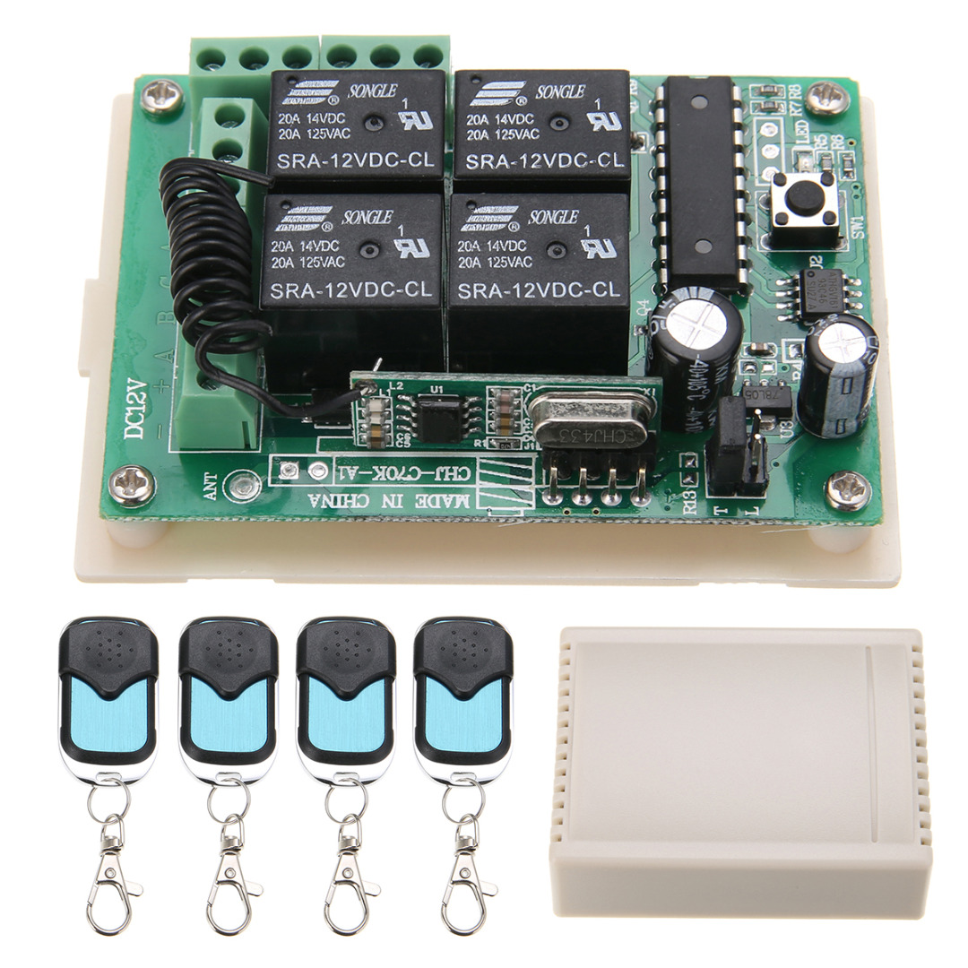 Mayitr 4pcs HCS301 433MHz Rolling Code Remote Control + DC 12V 10A Wireless Relay Receiver v2 replacement remote control transmitter 433mhz rolling code top quality