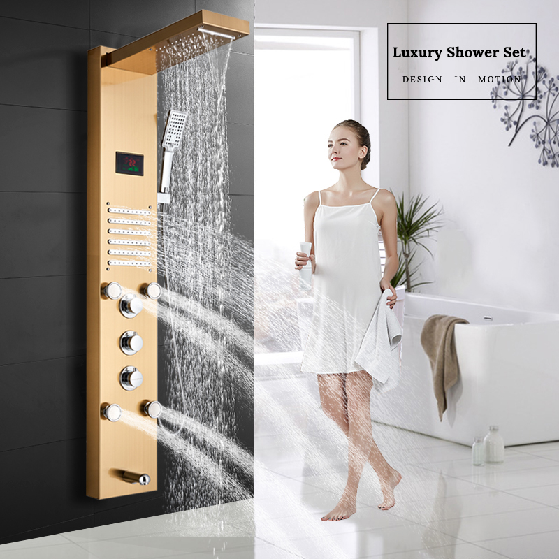 Luxury Gold Shower Column Faucet Led Light Wall Mount Bathroom Bath Shower System SPA Massage Sprayer Temperature Screen Show