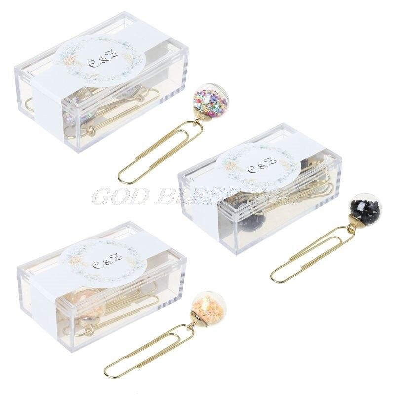 Nice 5pcs/box Glass Ball Paper Clips Notes Marker Diy Metal Binding Memo Paper Clip Bookmark Novelty Clip Holder & Clip Dispenser