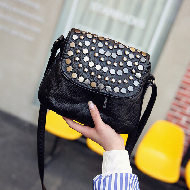 Mode femmes de petit sac à main en cuir souple casual épaule messenger petit sac femme sac à main noir xiaofhu7
