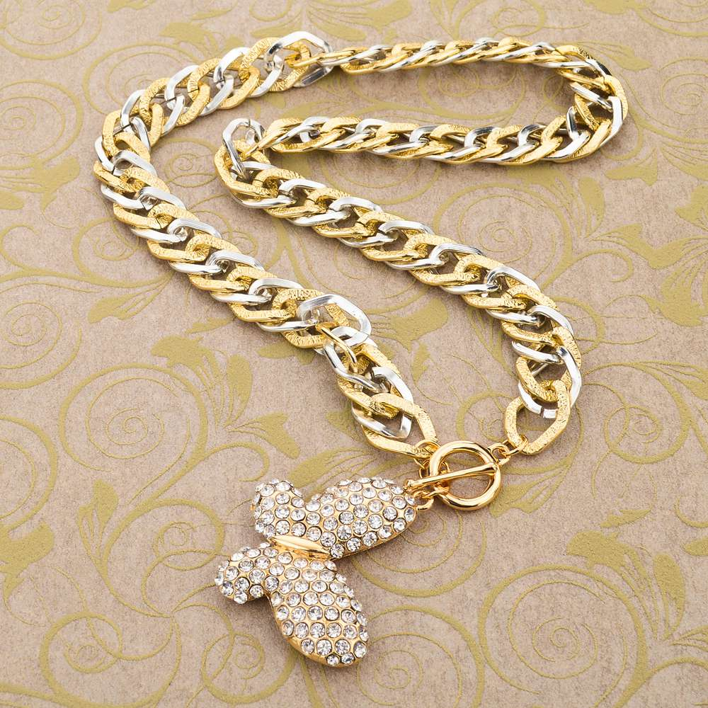 MELIHE Vintage Statement Crystal Butterfly Pendant Necklace Designs Unique Long Chains Charm Women Sweater Jewelry SNE150779