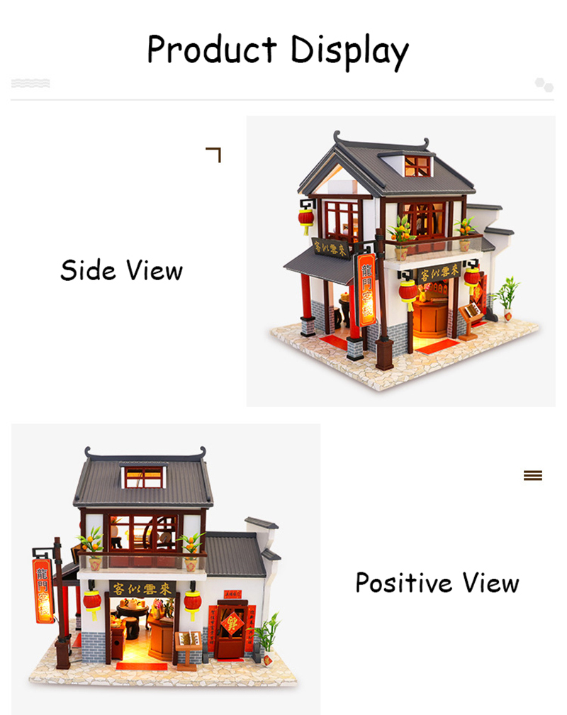 Doll House Chinese Style Hotel Miniature Dollhouse Assemble Kit Toys Wooden Retro Shop Furniture House Toys for Children New Year Christmas Gift (5)