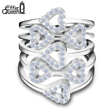 Effie Queen Luxury Crystal Zircon Rings Wedding Jewelry Hearts to Hearts Cluster Ring Women Accessories DAR029