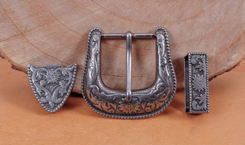 HEAVY DUTY COWBOY WESTERN FLORAL ENGRAVED ANTIQUE SILVER BELT BUCKLE SET 1-1/2