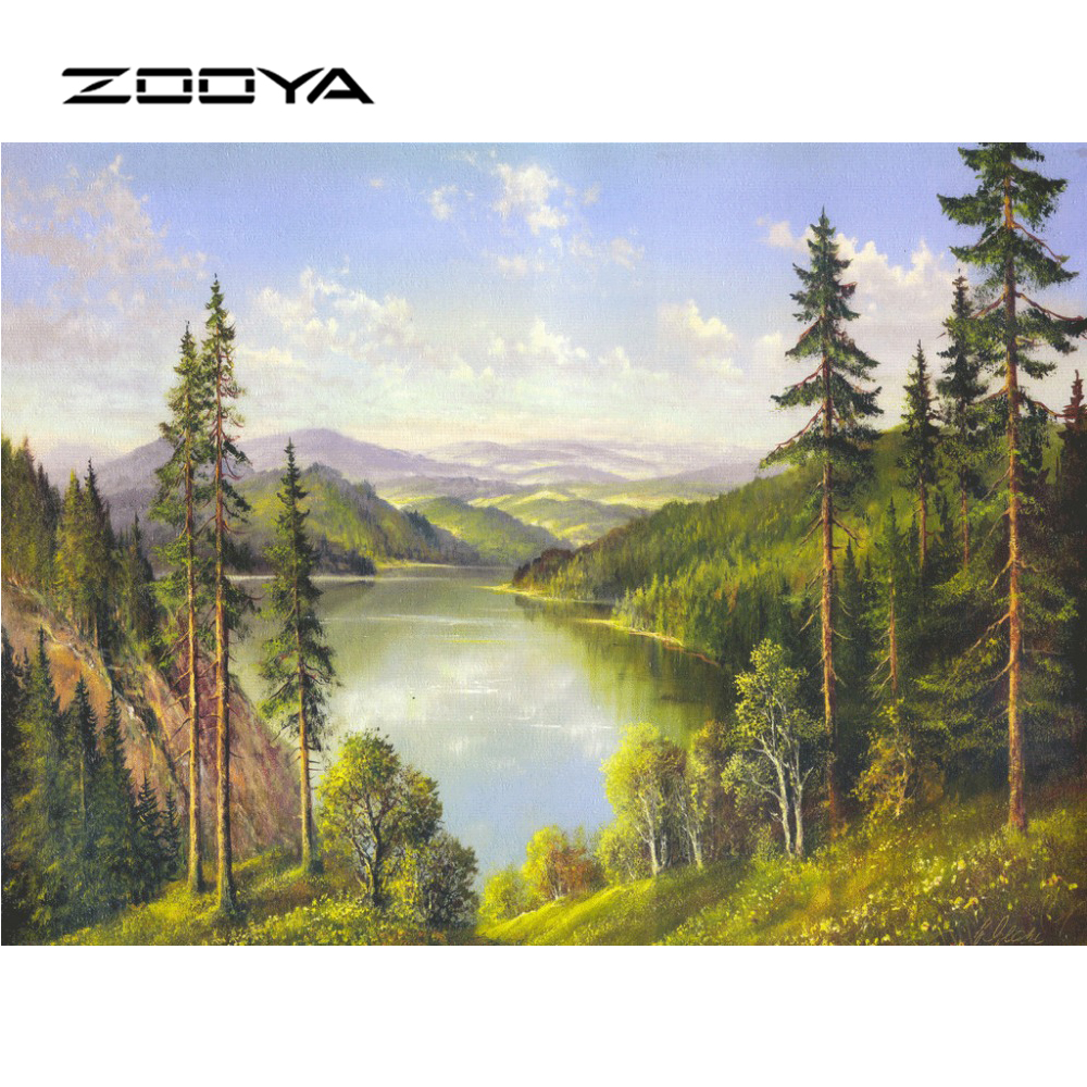 Zooya Diamond Painting Full Square Scenic Mountain Lake