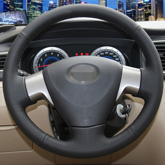 Hand-stitched Black Leather Steering Wheel Cover for Toyota Corolla 2006-2010 Toyota Corolla EX