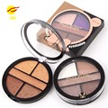 MISS ROSE 5 Colors Eyeshadow Palette Earth Color Shimmer Smoky Eye Shadow Palette Glitter Pigment Round Shape Palette