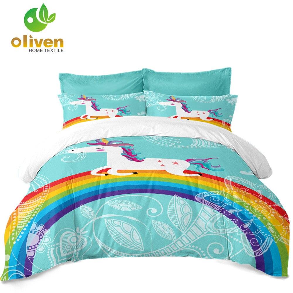 Kids Unicorn Bedding Set Blue Cartoon Floral Duvet Cover Set Colorful Rainbow Print Bedding Quilt Cover Home Decor 3Pcs D40