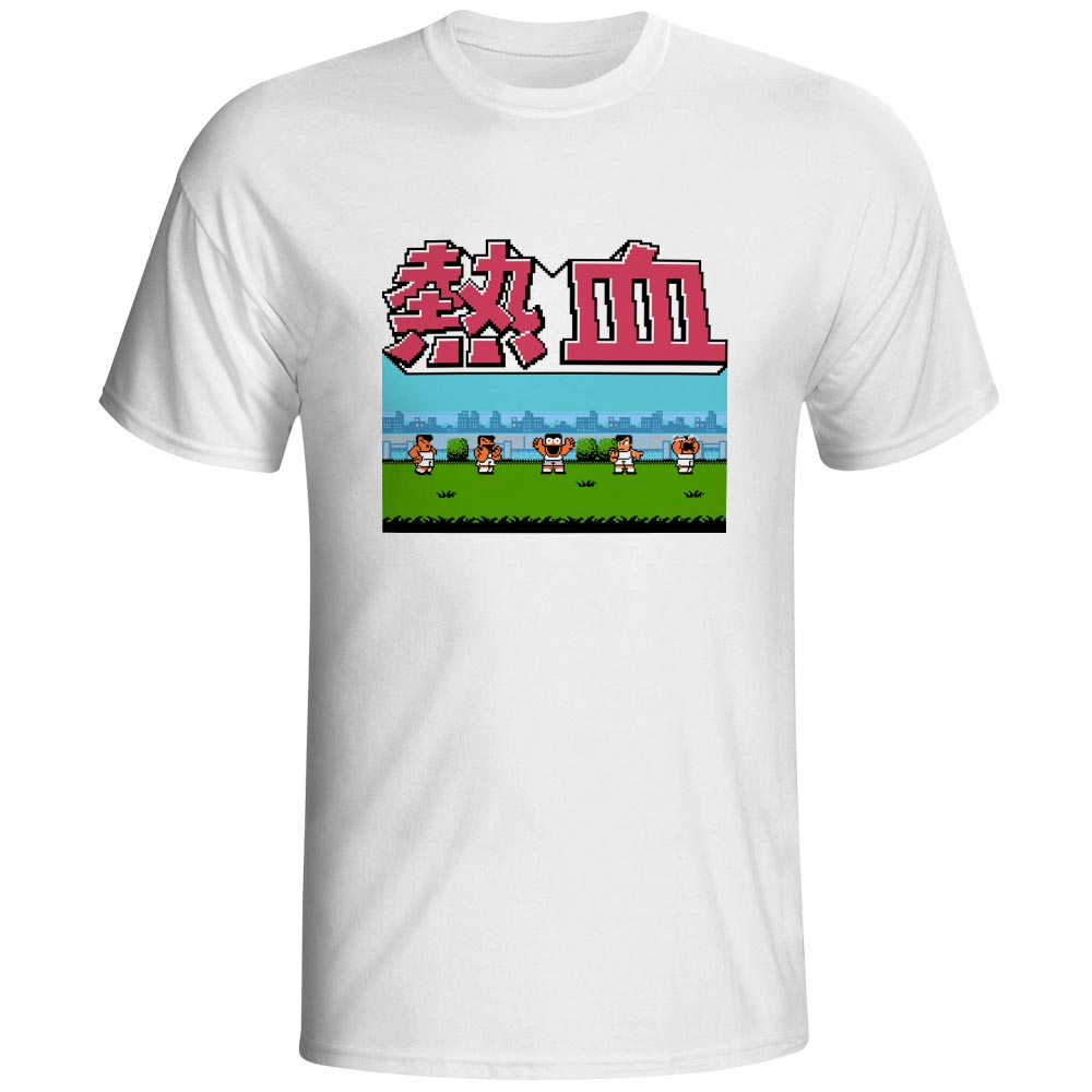 Kunios Happy Life Nekketsu T Shirt Retro Video Console Game Pixel Art Print Style Novelty T-shirt Hip Hop Rock Punk Unisex Tee