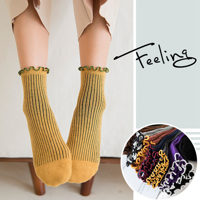 New Fashion Color Ruffles Cotton Women   Socks   Latest Design Retro Sweet Princess   Socks   Autumn Vintage Contrasted Color   Socks