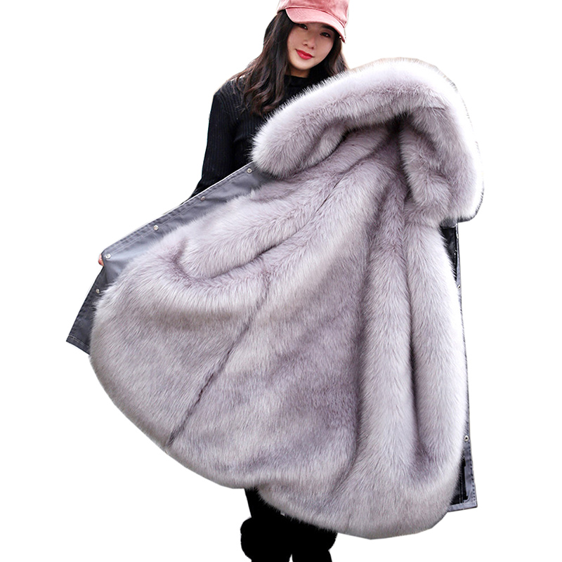 Зимнее роскошное пальто из искусственного лисьего меха 2018 Женское зимнее пальто с капюшоном из искусственного меха плюс размер винтажное п
