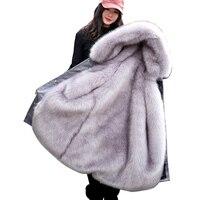 Зимнее роскошное пальто из искусственного лисьего меха 2018 Женское зимнее пальто с капюшоном из искусственного меха плюс размер винтажное п...