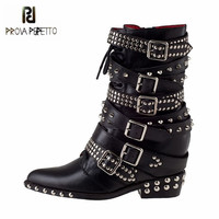 Prova Perfetto Black Pointed Toe Women Ankle Boots Height Increasing Rivets Studded Martin Boots Straps Platform