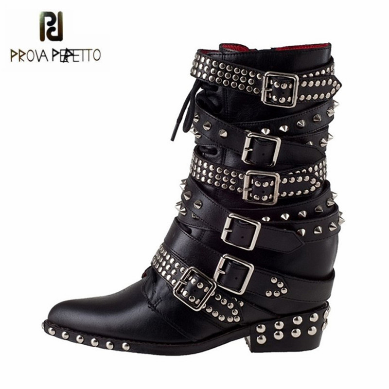 Prova Perfetto Black Pointed Toe Women Ankle Boots Height Increasing Rivets Studded Martin Boots Straps Platform Wedge Botas prova perfetto yellow women mid calf boots fashion rivets studded riding boots lace up flat shoes woman platform botas militares