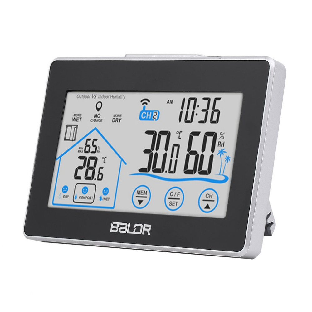 BALDR Weather Station Temperature Humidity Meter Digital Sensor Hygrometer Thermometer Wireless Touch LCD Clock Indoor Freeship wireless weather station temperature humidity sensor colorful lcd display weather forecast home decoration xmas gift