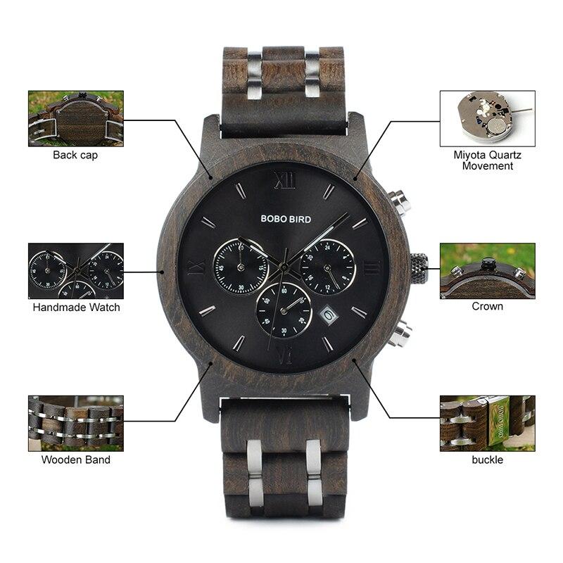 BOBO BIRD Men Chronograph Date Luxury Versatile Timepieces Wooden Watch 27
