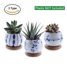 """T4U 2,"""" керамический горшок для суккулентов, горшок для растений, цветочный горшок, контейнер для бонсай, горшок для растений с бамбуковым поддоном, украшение сада"""