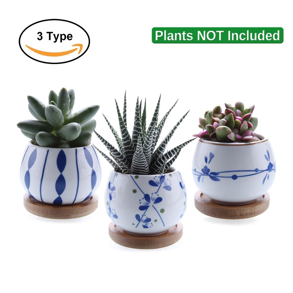 "T4U 2.7"" Ceramic Succulent Plant Pot Cactus Plant Pot Flower Pot Bonsai Container Planter With Bamboo Tray Garden Decoration"